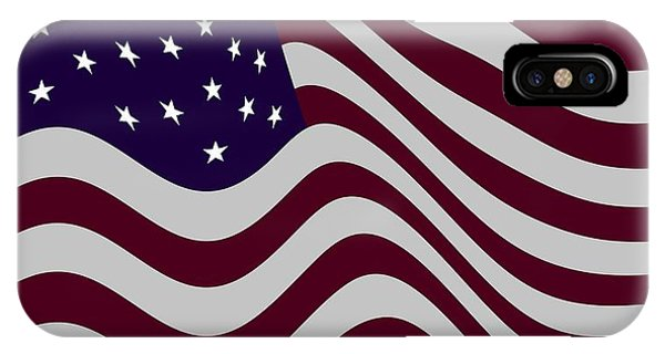 4th July iPhone Case - Abstract Burgundy Grey Violet 50 Star Flag Flying Cropped X 2 by L Brown