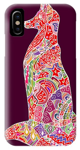 Outline iPhone Case - Abstract Doodle Outline Fox by Neliakott