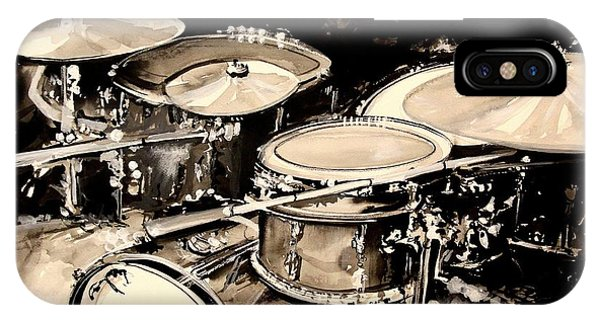Drum iPhone Case - Abstract Drum Set by J Vincent Scarpace