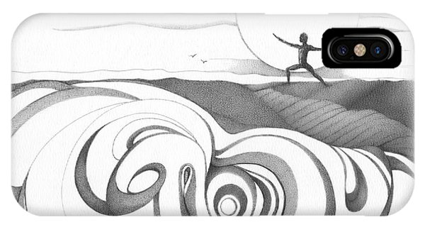 Surf iPhone Case - Abstract Landscape Art Black And White Yoga Zen Pose Between The Lines By Romi by Megan Duncanson