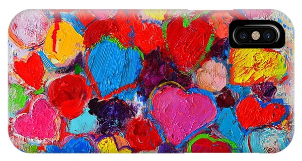Abstract Love Bouquet Of Colorful Hearts And Flowers IPhone Case