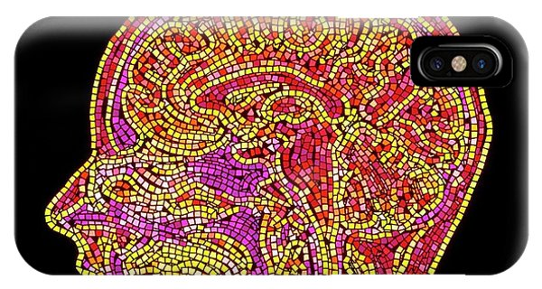 Brain Scan iPhone X Case - Abstract Mosaic Mri Scan Of The Human Brain by Mehau Kulyk/science Photo Library