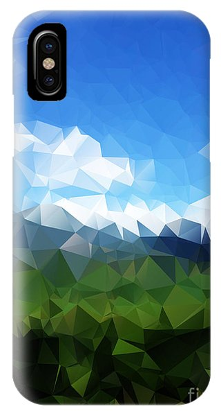 Connections iPhone Case - Abstract Polygonal Landscape Background by Daria Iva
