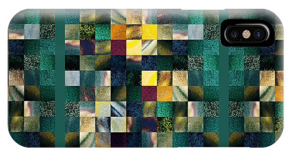 Abstract Squares Triptych Gentle Green IPhone Case
