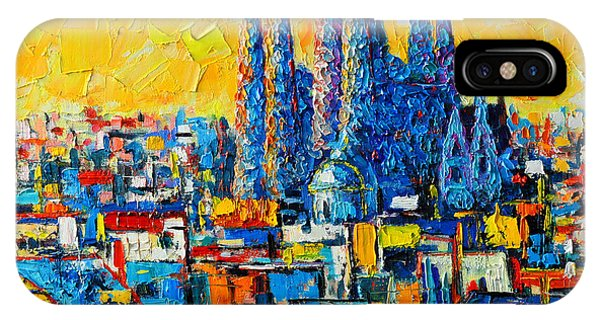 Architectural iPhone Case - Abstract Sunset Over Sagrada Familia In Barcelona by Ana Maria Edulescu
