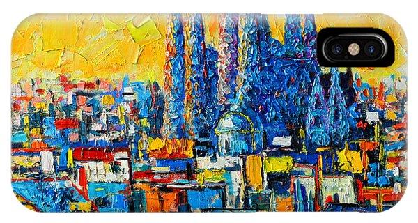 Modern iPhone Case - Abstract Sunset Over Sagrada Familia In Barcelona by Ana Maria Edulescu