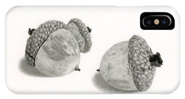 Hyper Realism iPhone Case - Acorns- Black And White by Sarah Batalka