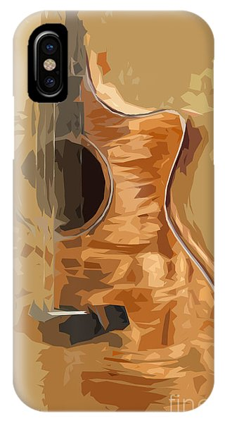 Acoustic Guitar Brown Background 1 Phone Case by Drawspots Illustrations