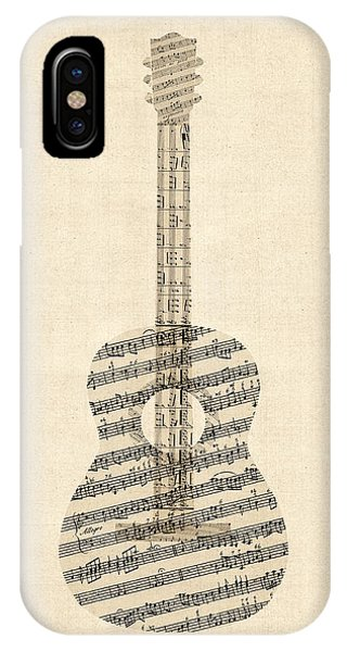 Guitar iPhone Case - Acoustic Guitar Old Sheet Music by Michael Tompsett