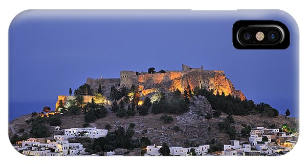 Acropolis And Village Of Lindos During Dusk Time IPhone Case