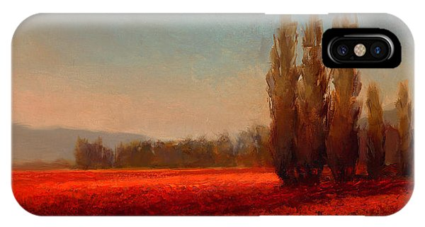 Red Sky iPhone X Case - Across The Tulip Field - Horizontal Landscape by Karen Whitworth