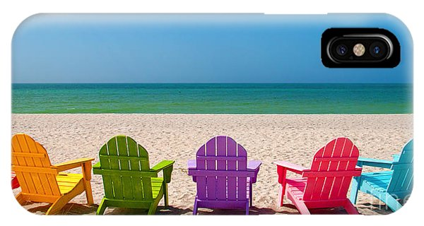 Beach Chair iPhone Case - Adirondack Beach Chairs For A Summer Vacation In The Shell Sand  by ELITE IMAGE photography By Chad McDermott