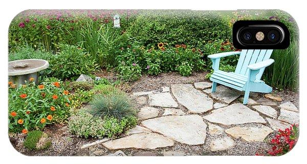 Scarlet iPhone Case - Adirondack Chair, Birdbath by Panoramic Images