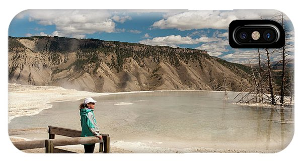 Mammoth Hot Springs iPhone Case - Admiring Canary Springs, Mammoth by Howie Garber