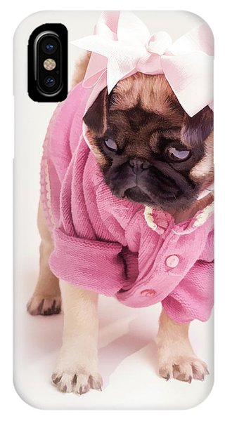 Pug iPhone X Case - Adorable Pug Puppy In Pink Bow And Sweater by Edward Fielding