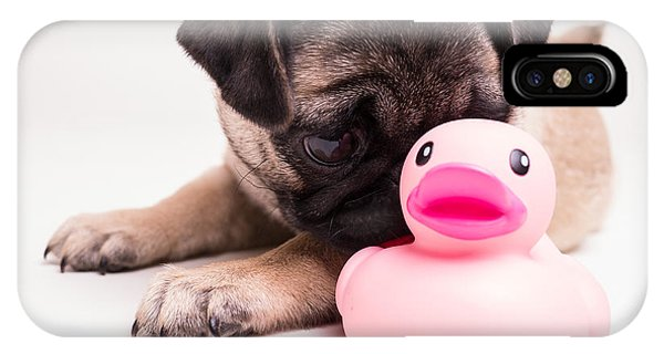 Pug iPhone X Case - Adorable Pug Puppy With Pink Rubber Ducky by Edward Fielding