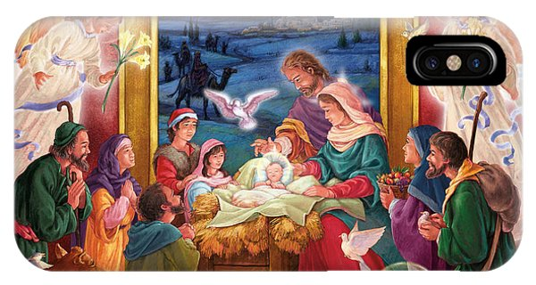 Adoring Angels Nativity Square IPhone Case
