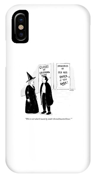 Debts iPhone Case - Adult-themed Haunted House by Emily Flake