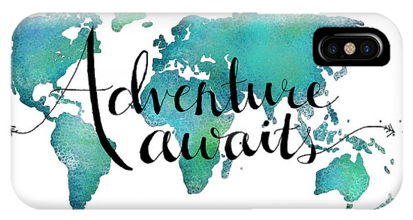 Travel iPhone Case - Adventure Awaits - Travel Quote On World Map by Michelle Eshleman