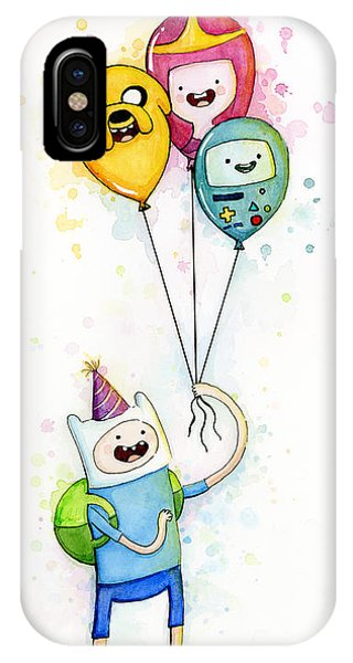 Room iPhone Case - Adventure Time Finn With Birthday Balloons Jake Princess Bubblegum Bmo by Olga Shvartsur