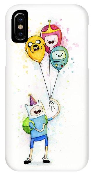 Cartoon iPhone Case - Adventure Time Finn With Birthday Balloons Jake Princess Bubblegum Bmo by Olga Shvartsur