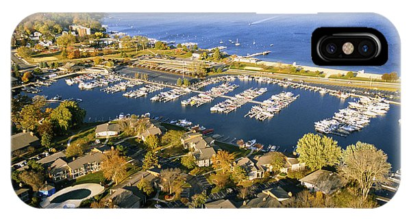 Aerial Of The Abbey Harbor - Fontana Wisconsin IPhone Case