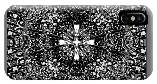 IPhone Case featuring the digital art Aerial View Kaleidoscope Black And White by Joy McKenzie