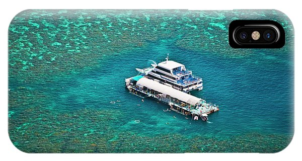 Aerial View Of A Tour Boat Docked IPhone Case