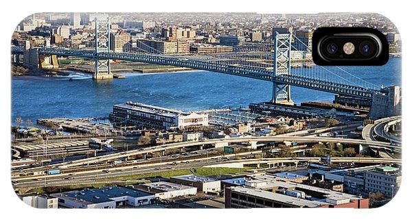 Aerial View Of Ben Franklin Bridge IPhone Case