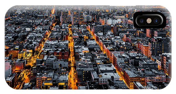 Aerial View Of New York City At Night IPhone Case