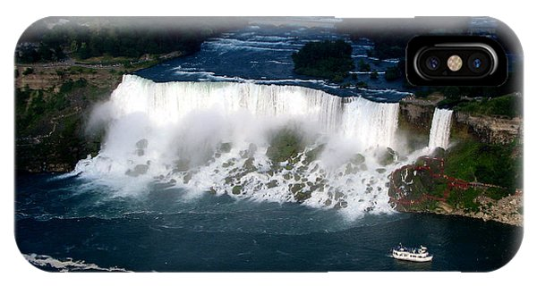 Aerial View Of Niagara Falls And River And Maid Of The Mist IPhone Case