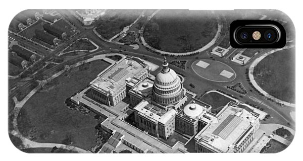 Capitol Building iPhone Case - Aerial View Of U.s. Capitol by Underwood Archives
