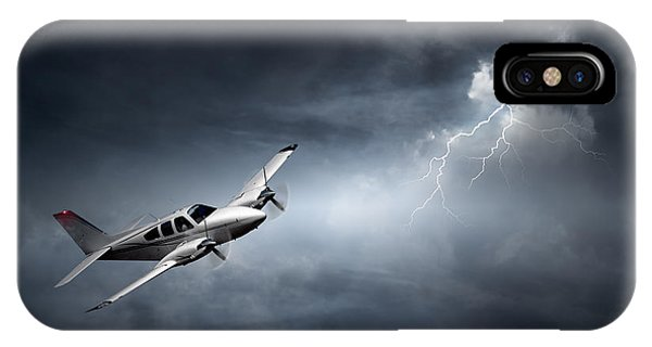 Horizontal iPhone Case - Risk - Aeroplane In Thunderstorm by Johan Swanepoel