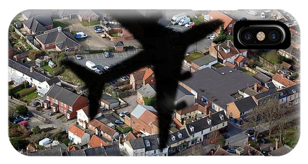 Aeroplane Shadow Over Houses Phone Case by Victor De Schwanberg