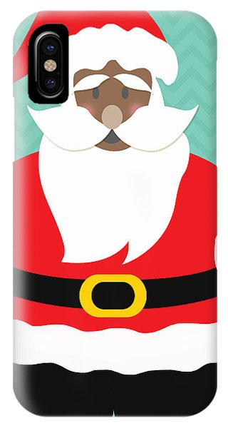Aqua iPhone Case - African American Santa Claus by Linda Woods