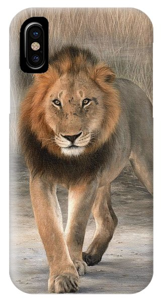African Lion Art iPhone Case - African Lion Painting by Rachel Stribbling