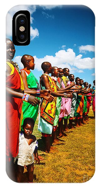 African Men Dancing Phone Case by Anna Om