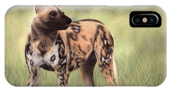 African Wild Dog Painting IPhone Case