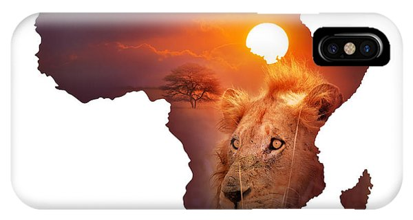 Outline iPhone Case - African Wildlife Map by Johan Swanepoel