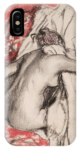 Impressionistic iPhone Case - After The Bath.seated Woman Drying Herself by Edgar Degas