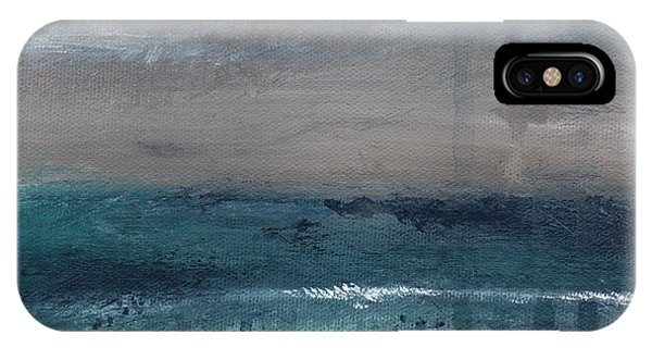Aqua iPhone Case - After The Storm- Abstract Beach Landscape by Linda Woods