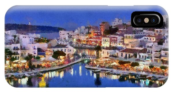 Painting Of Agios Nikolaos City IPhone Case