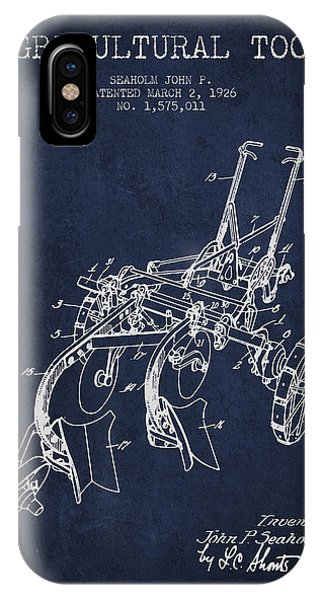 Agricultural Tool Patent From 1926 - Navy Blue IPhone Case