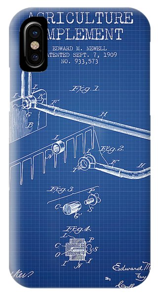 Agriculture Implement Patent From 1909 - Blueprint IPhone Case