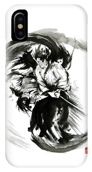 Asia iPhone Case - Aikido Techniques Martial Arts Sumi-e Black White Round Circle Design Yin Yang Ink Painting Watercol by Mariusz Szmerdt