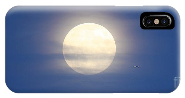 Airplane Flying Into Full Moon IPhone Case