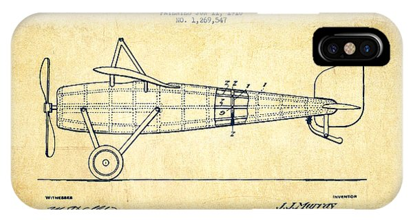 Airplane iPhone Case - Airplane Patent Drawing From 1918 - Vintage by Aged Pixel