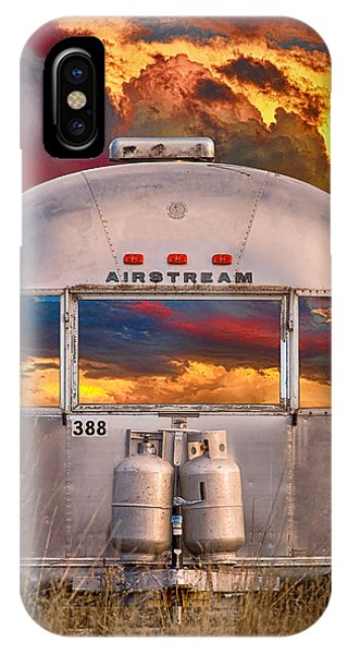 Airstream Travel Trailer Camping Sunset Window View IPhone Case