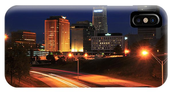 D1u-140 Akron Ohio Night Skyline Photo IPhone Case