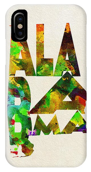Alabama iPhone Case - Alabama Typographic Watercolor Map by Inspirowl Design